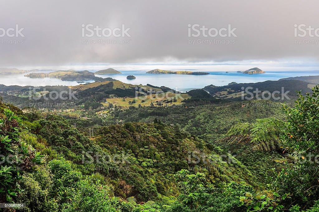 Islands on the coast in the Coromandel Peninsula, New Zealand stock photo