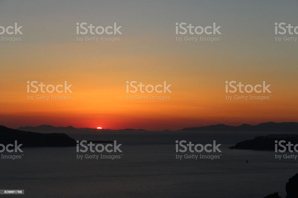 Islands Skyline at Sunset Dusk, and Almost at Night stock photo