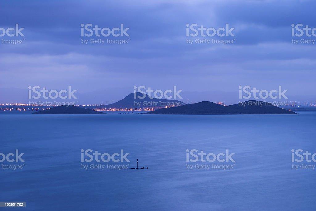 Islands under the moonlight stock photo