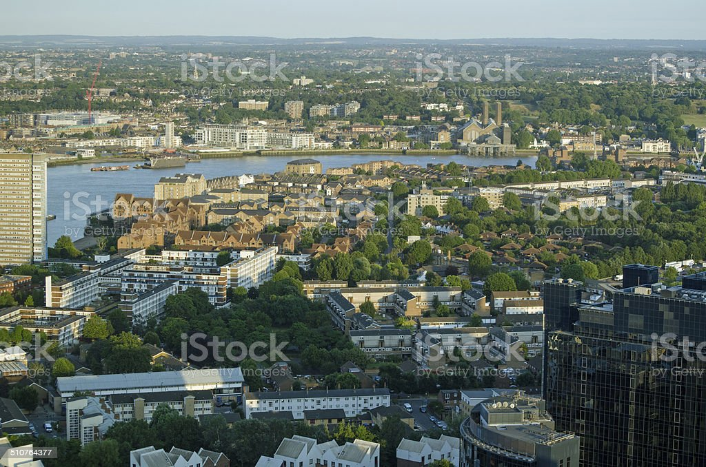Isle of Dogs, Thames and Greenwich, Aerial view stock photo