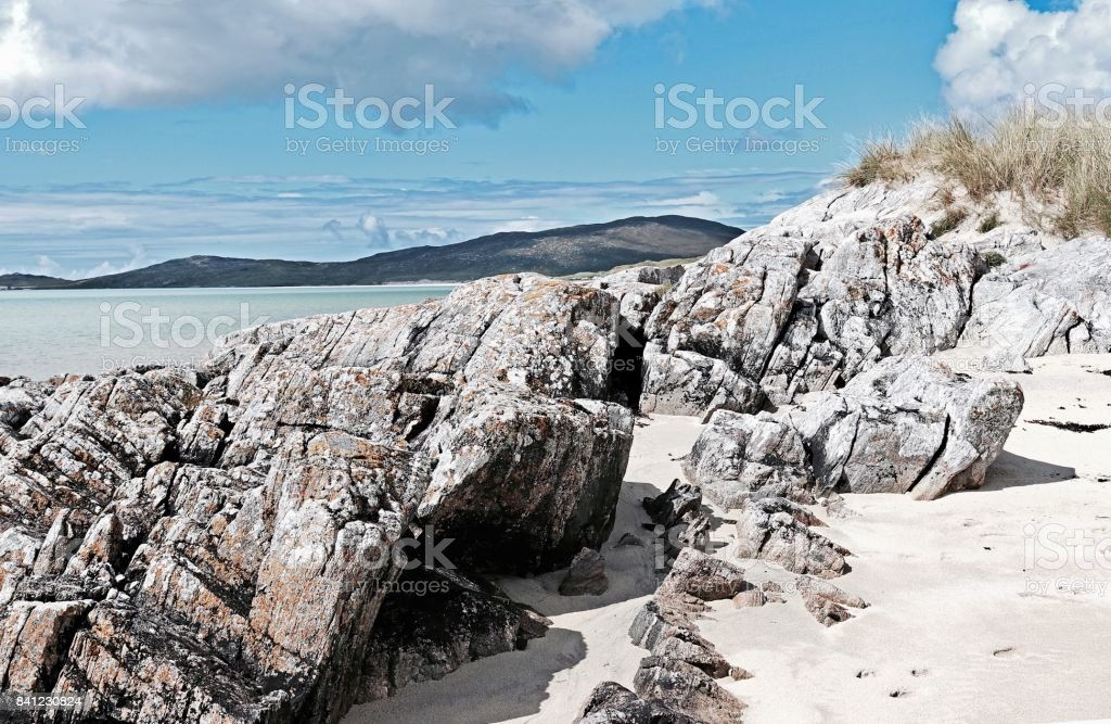 Isle of Harris beach with silver sand and rocks stock photo