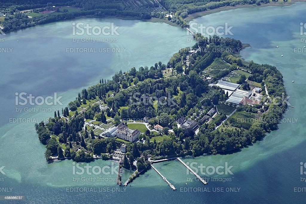 Isle of mainau aerial view stock photo