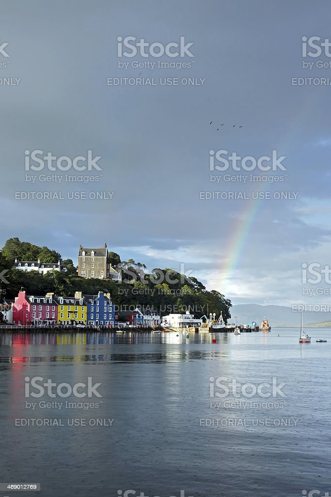 Isle of Mull Colorful town of Tobermory - landscape stock photo