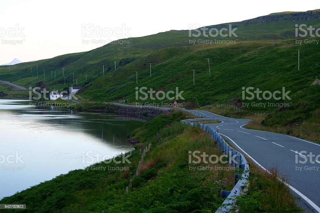 Isle of Skye Hebrides Scotland UK winding road stock photo