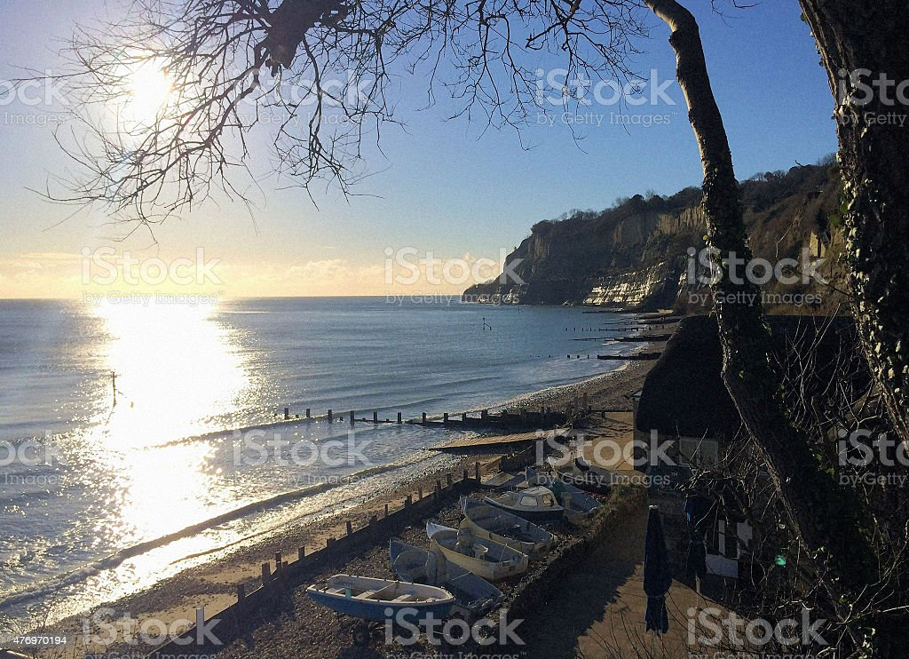 Isle of Wight coast at dawn stock photo