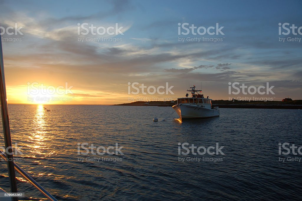 Isles of Shoals Sunset stock photo