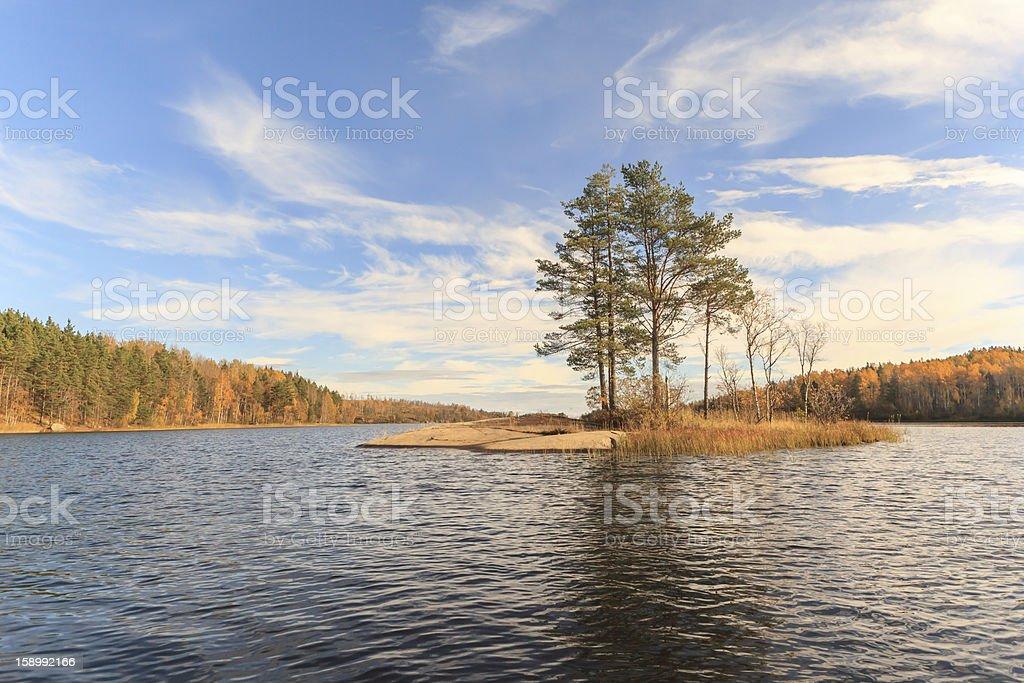 Islet on autumn lake royalty-free stock photo