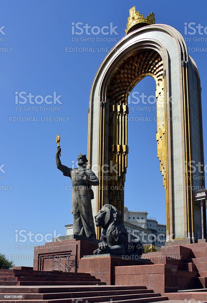 Ismoil Somoni monument, Dushanbe, Tajikistan stock photo
