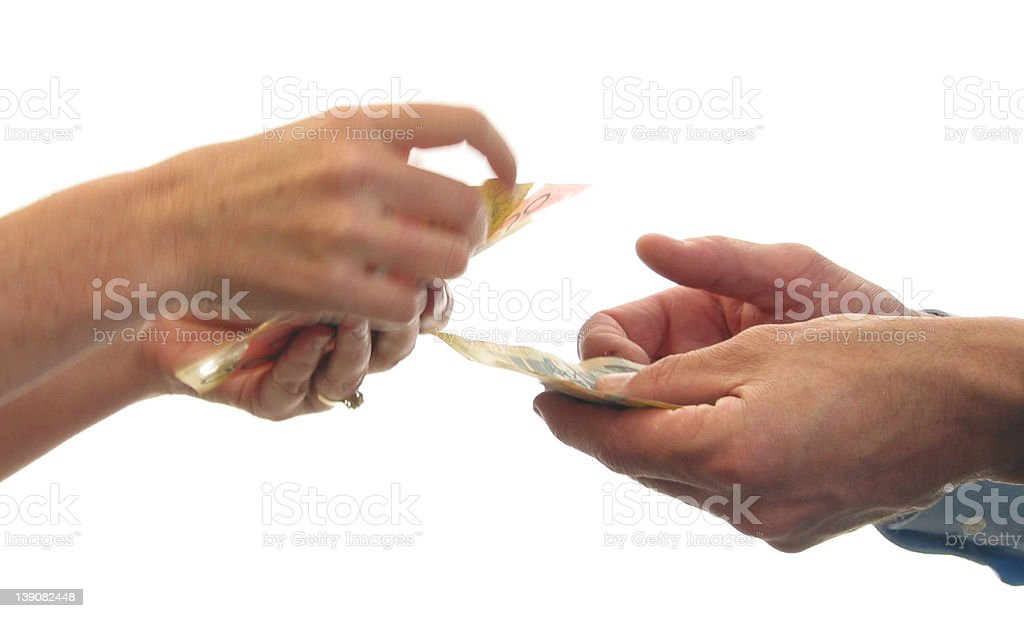 iso - money changing hands 2 stock photo