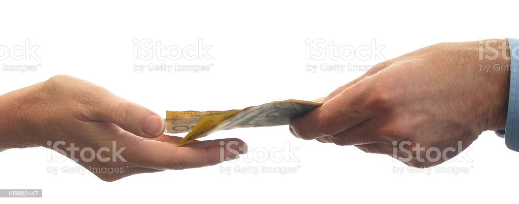 iso - money changing hands stock photo