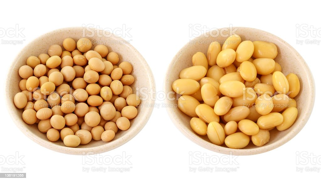 Isoaled Dried and soaked Soybeans : Great Health Benefit stock photo