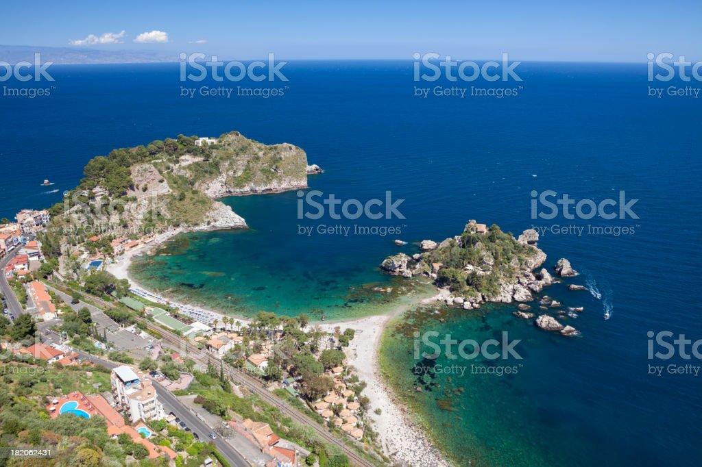 Isola Bella and Mazzaro Beach -Taormina Sicily Italy stock photo