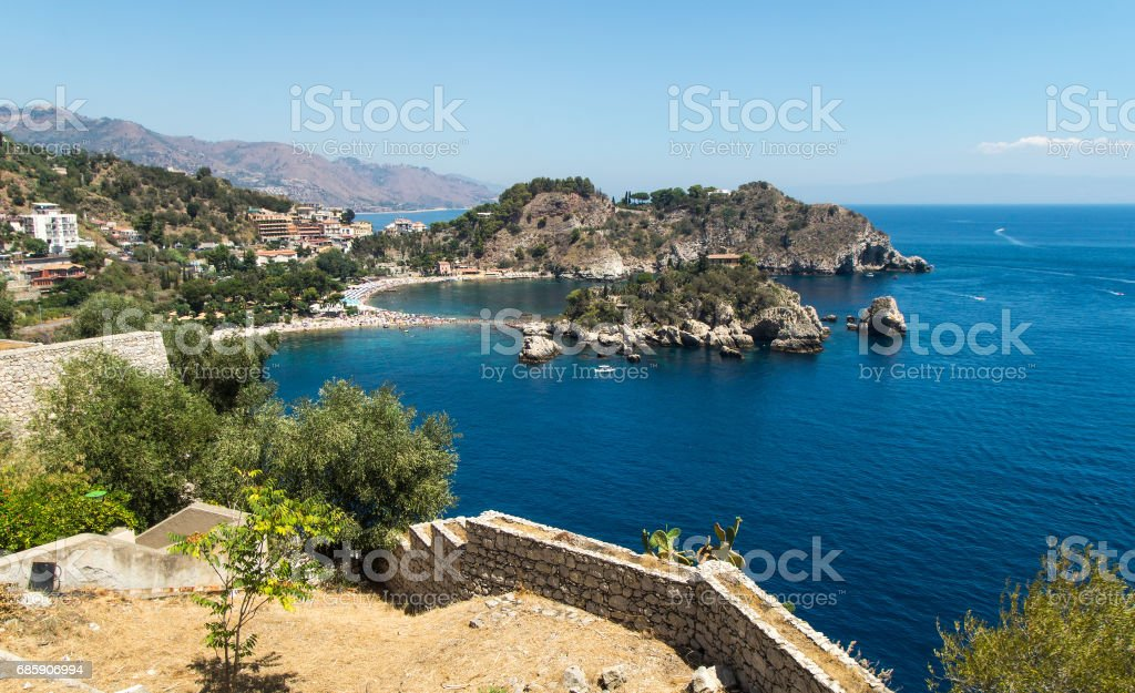 Isola Bella beach,Taormina, Sicily stock photo
