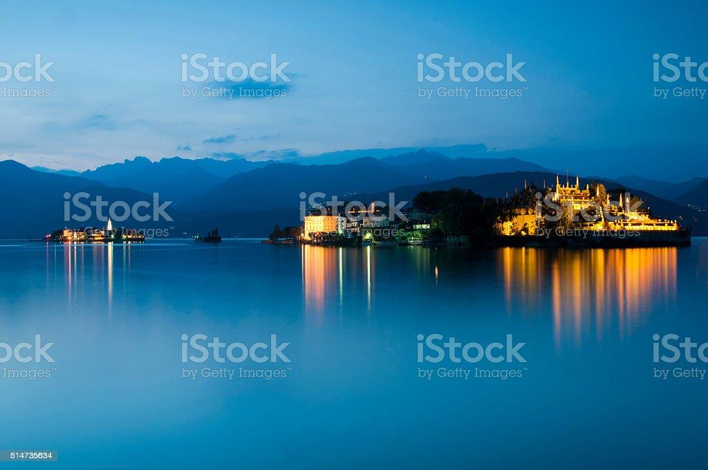 Isola Bella & Isola Pescatori at sunset on Lake Maggiore stock photo