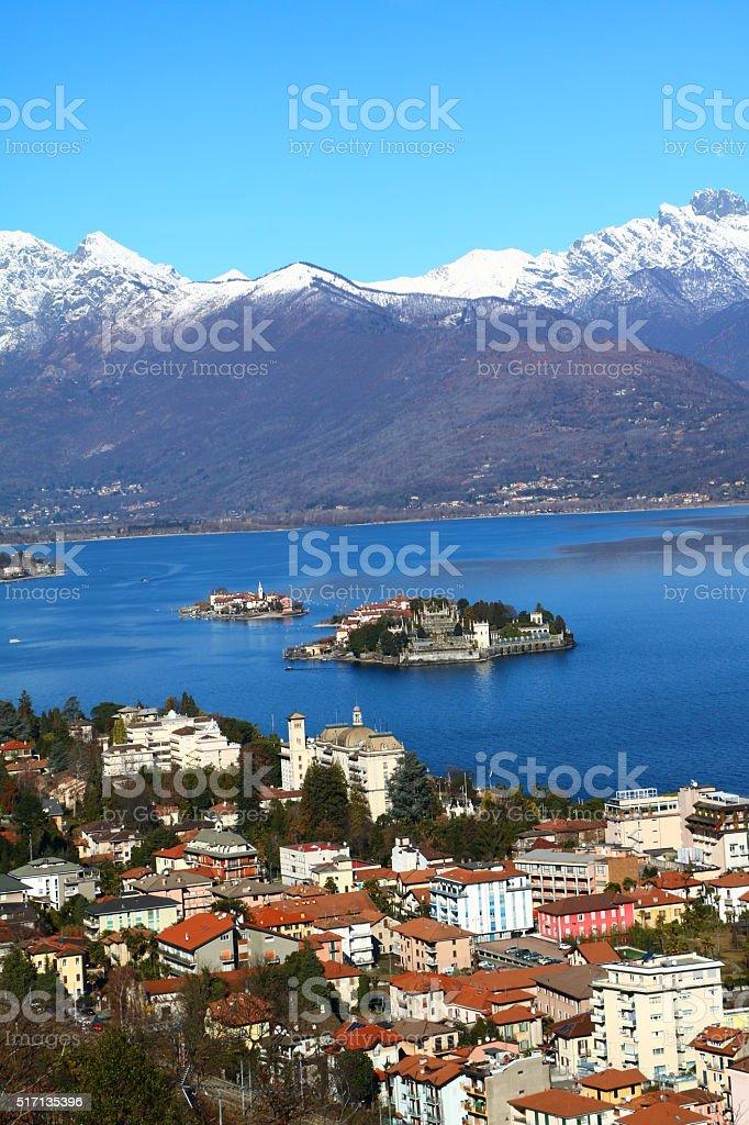 Isola Bella, Isola Pescatori view from Stresa, Lake Maggiore Italy stock photo