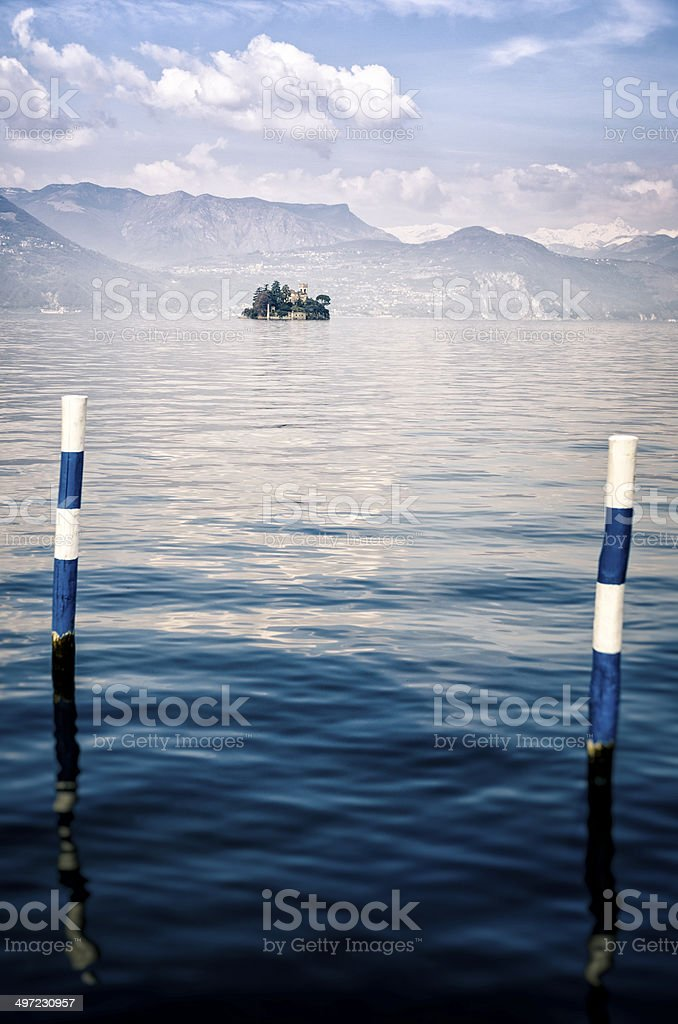 Isola di Loreto, on Lake Iseo, Lombardy, Italy stock photo