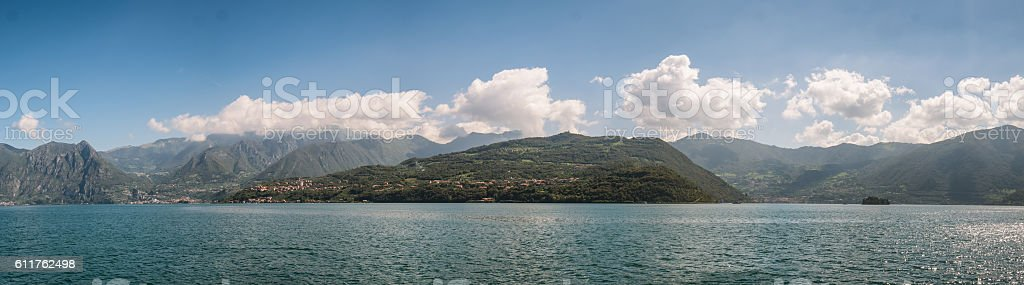 Isola Monte in lake Iseo, Italy stock photo