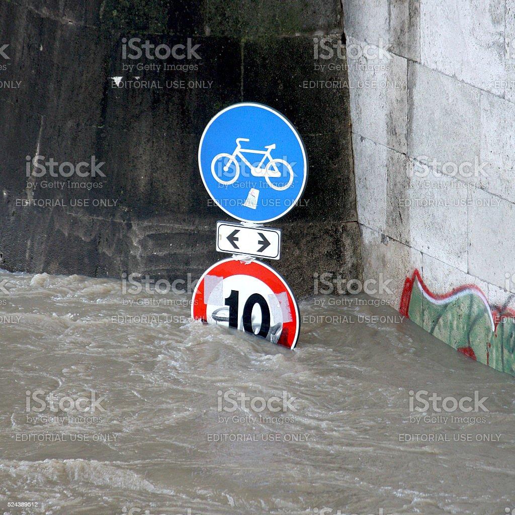 Isola Tiberina Flooded in Rome, Italy stock photo