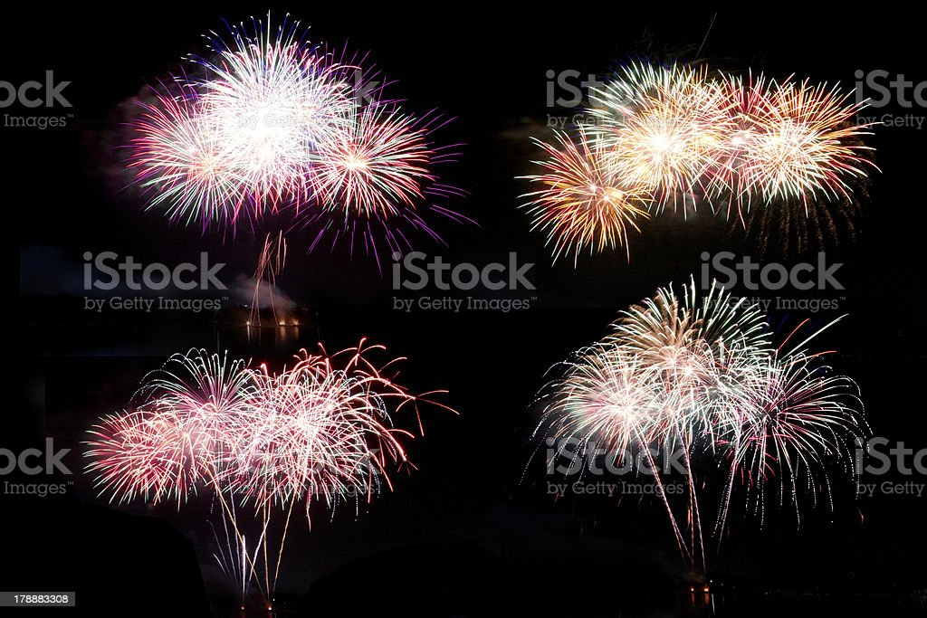 isolate Fireworks on a Black Sky royalty-free stock photo