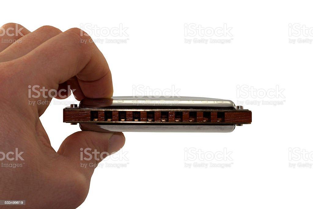 isolate harmonica in musician hand stock photo