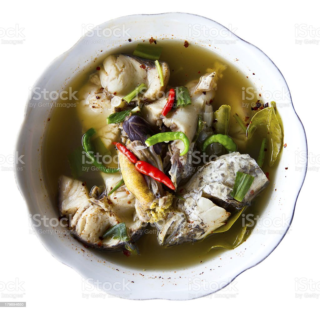 Isolate soup with fish royalty-free stock photo