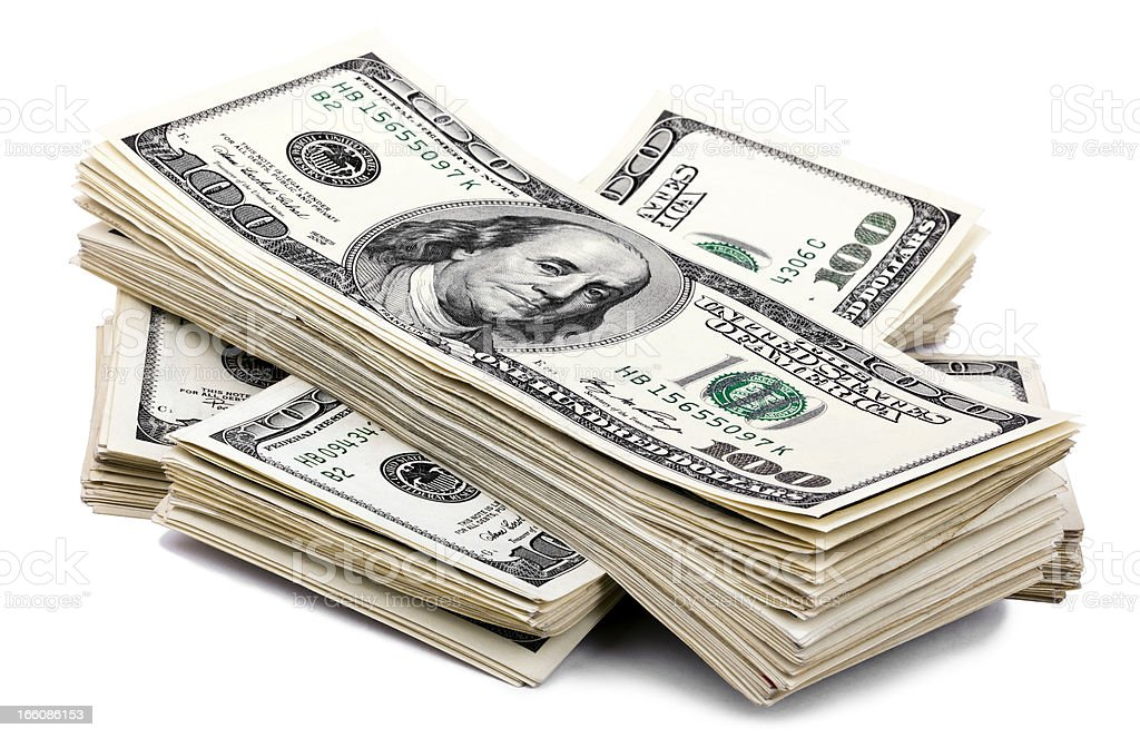 Isolated 100 US dollar Bills Stack stock photo