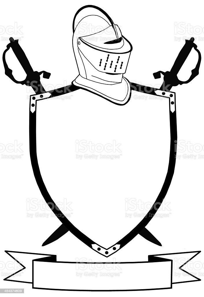 Isolated 16th Century War Shield Swords Banner and Helmet stock photo