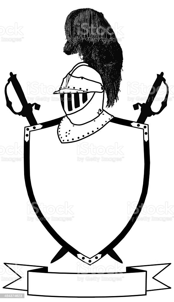 Isolated 16th Century War Shield Swords Banner and Plumaged Helm stock photo