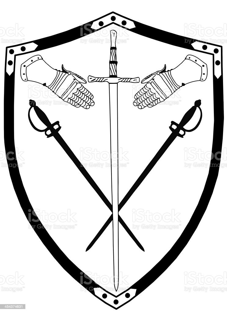 Isolated 16th Century War Shield with Crossed Swords and Gloves stock photo