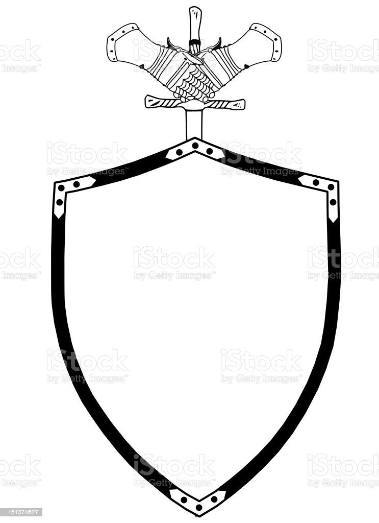 Isolated 16th Century War Shield with Sword and Gloves stock photo