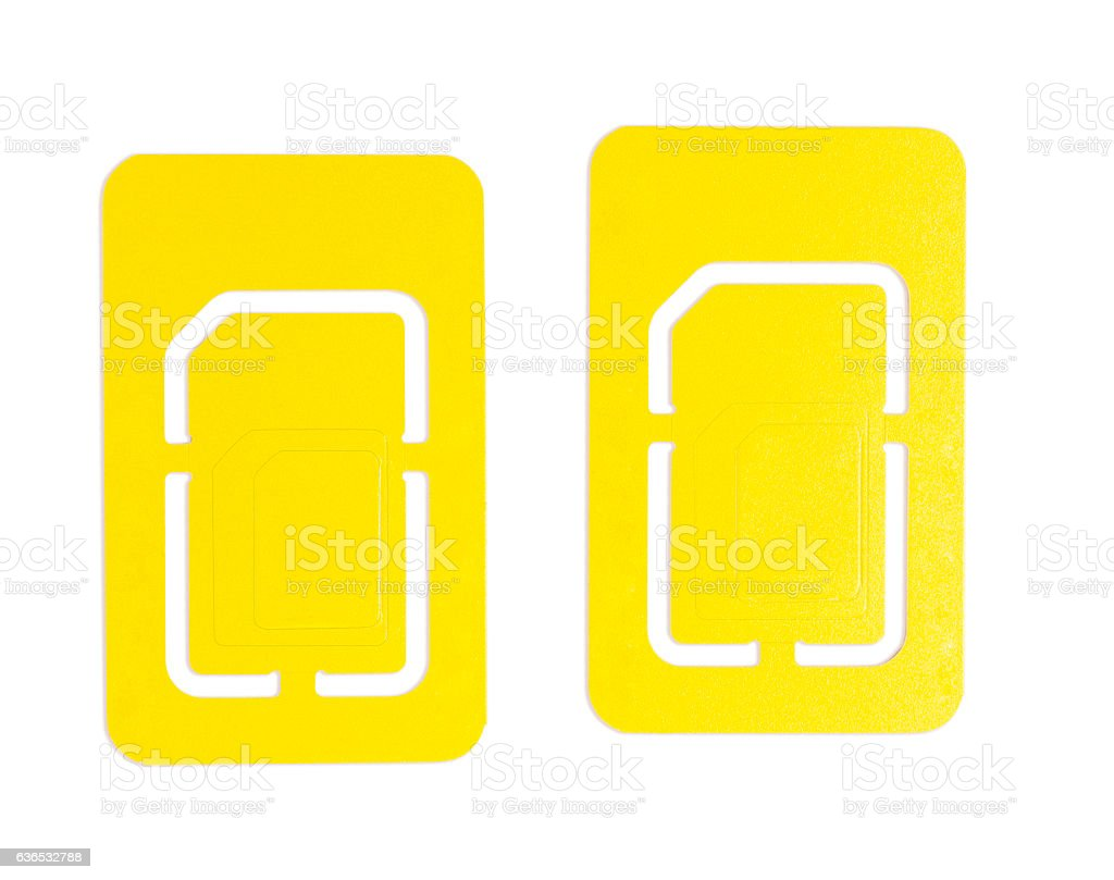 Isolated 2 Mobile Phone SIM Card stock photo