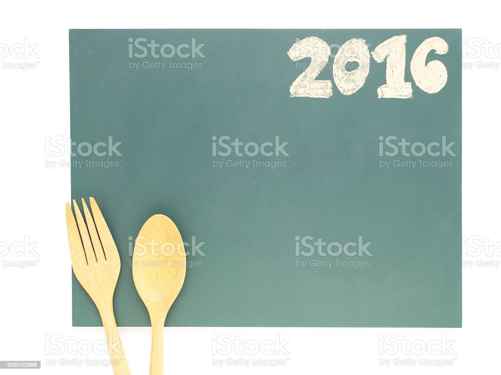 Isolated 2016 and wood spoon and fork stock photo