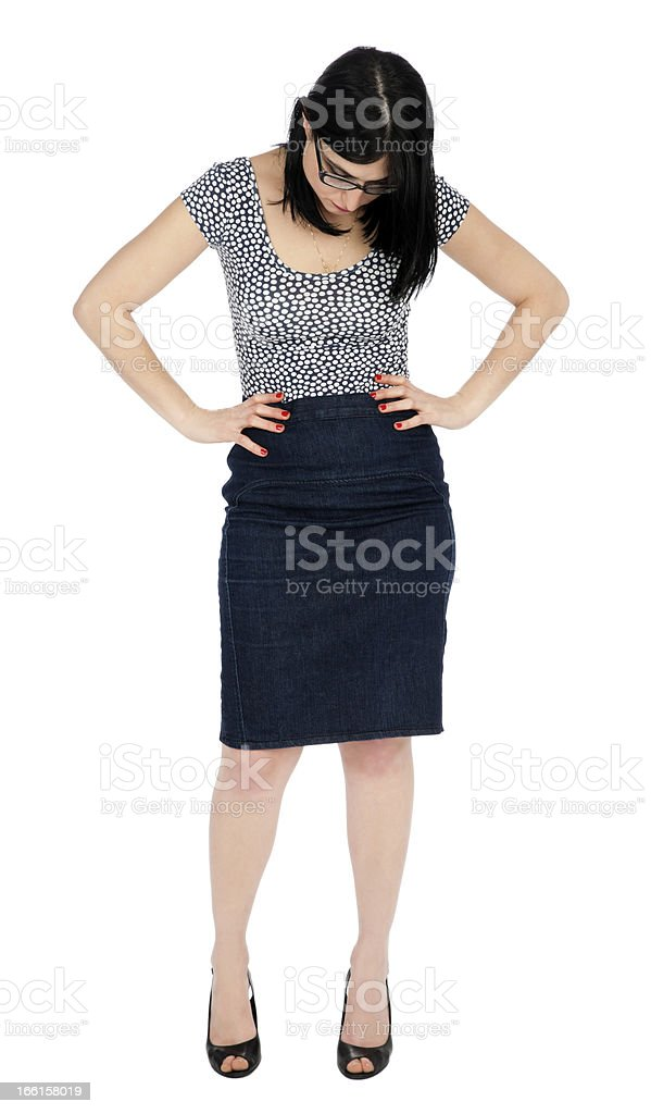 Isolated 30's Woman Looking Down royalty-free stock photo