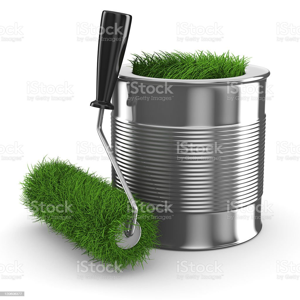 Isolated 3D image of paint can and green roller brush royalty-free stock photo