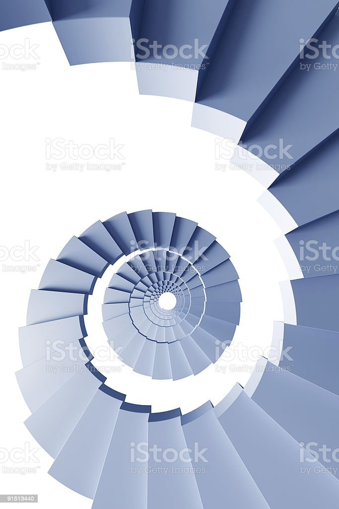 isolated 3d spiral staircase royalty-free stock photo