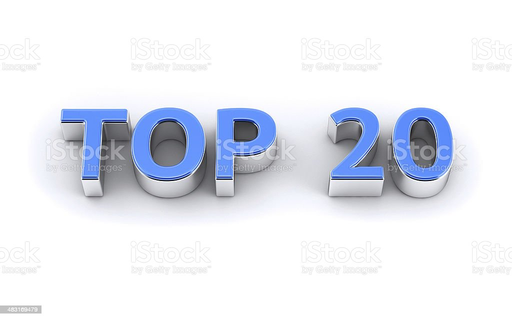 Isolated 3d text TOP 20 stock photo
