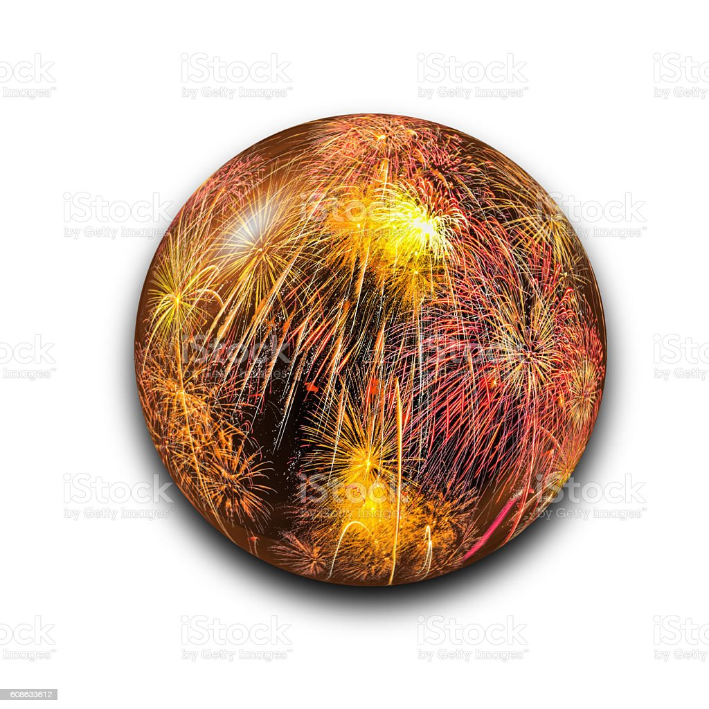 Isolated abstract fireworks in the glass ball with clipping path stock photo
