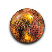 Isolated abstract fireworks in the glass ball with clipping path