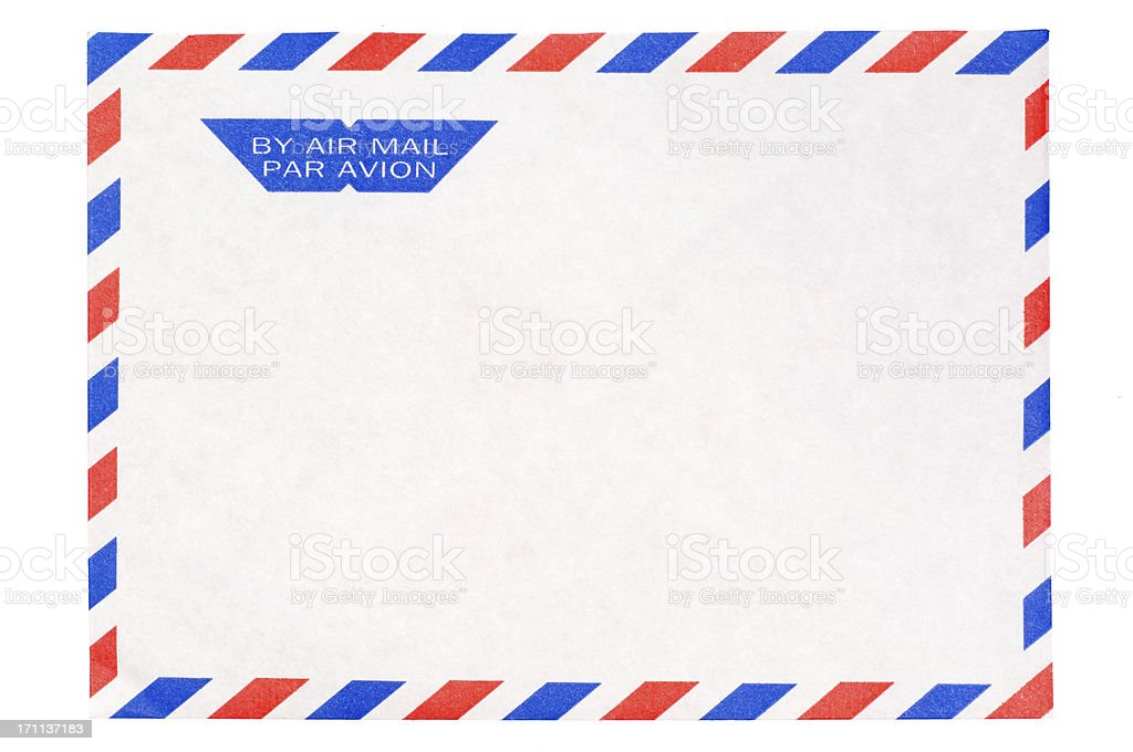 Isolated Airmail envelope on white stock photo