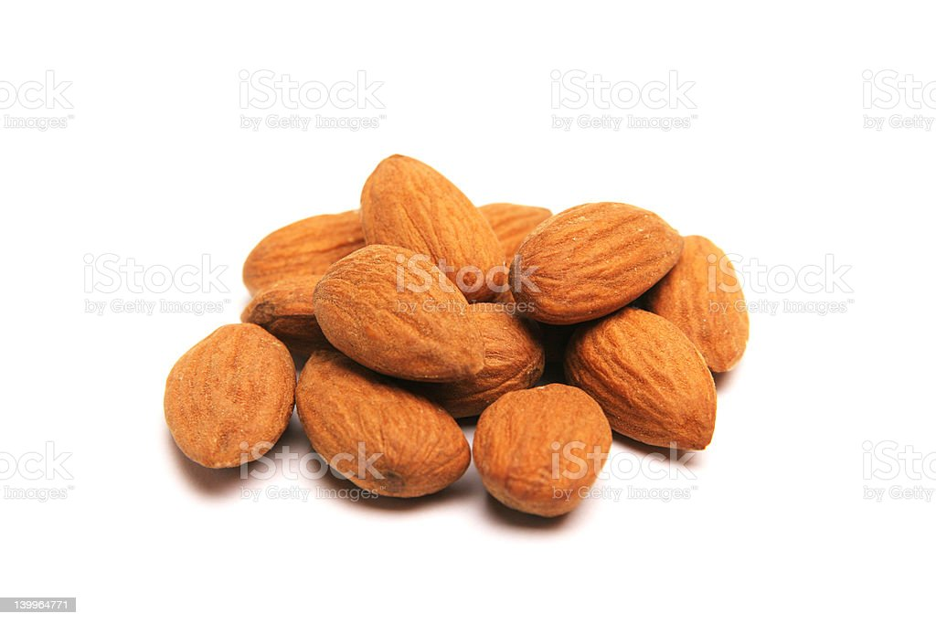 Isolated almonds royalty-free stock photo