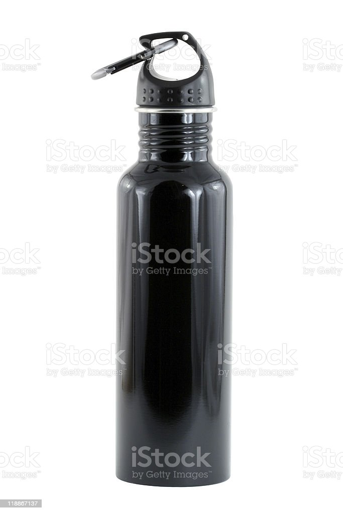 Isolated aluminum water bottle stock photo