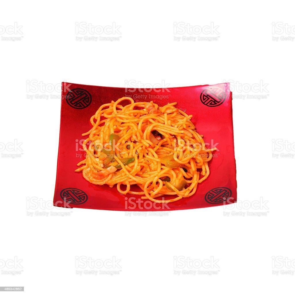 Isolated amatriciana spaghetti stock photo