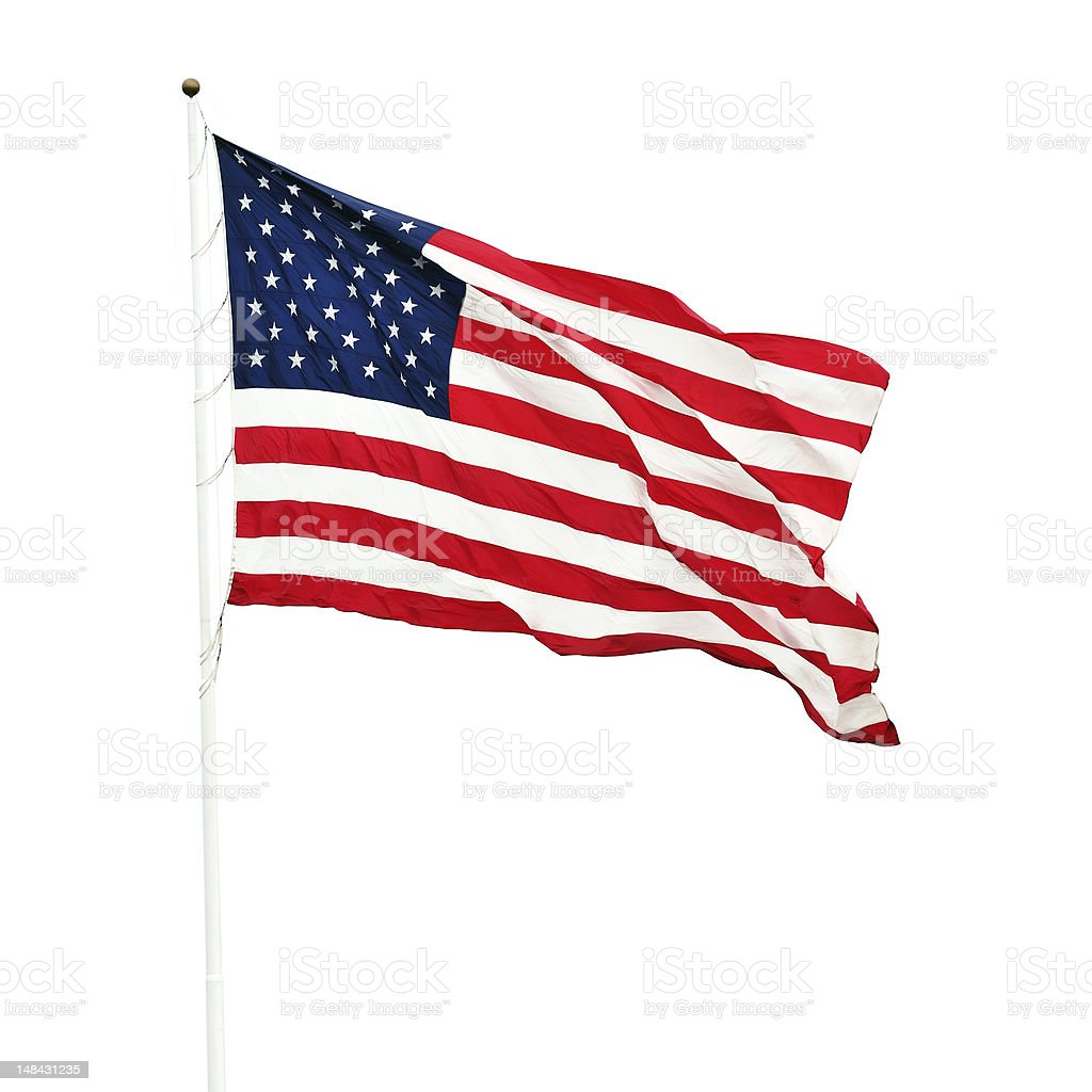 Isolated American Flag (with clipping path) stock photo