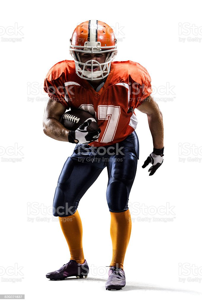 Isolated american football player stock photo