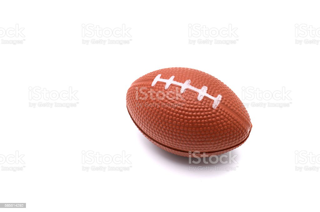 Isolated american football toy on a white background. stock photo