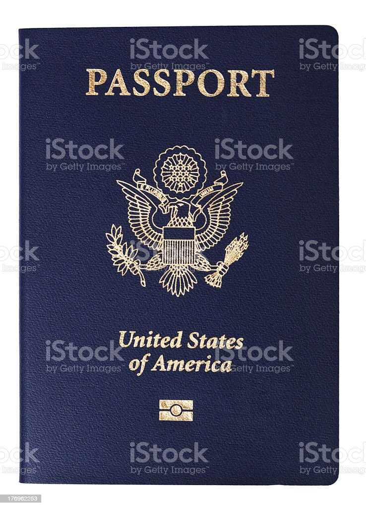 Isolated American Passport stock photo