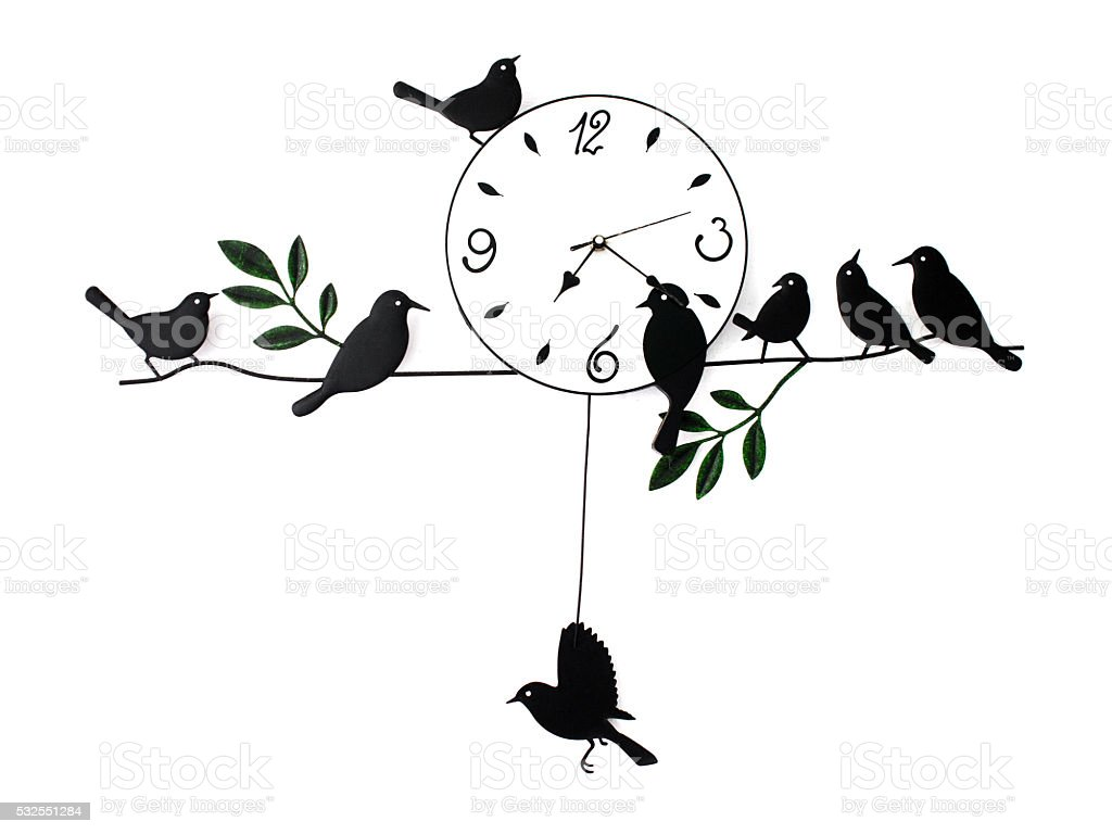 isolated analog clock vintage, Vintage Wall Clock, Bird House Clock stock photo
