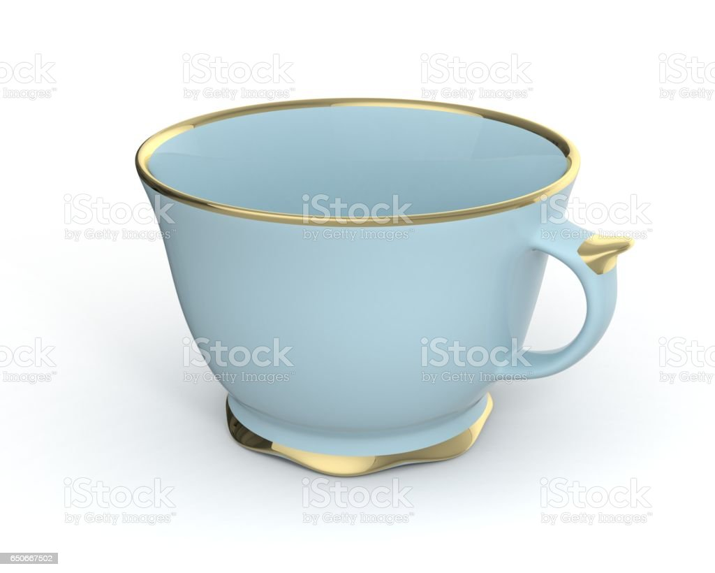Isolated antique porcelain cup with gold on white background. 3D Illustration. stock photo