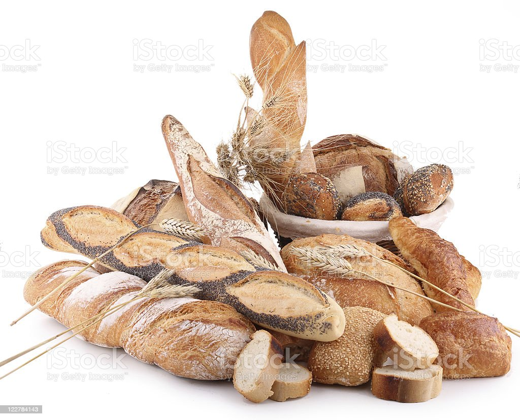 isolated assortment of bread royalty-free stock photo