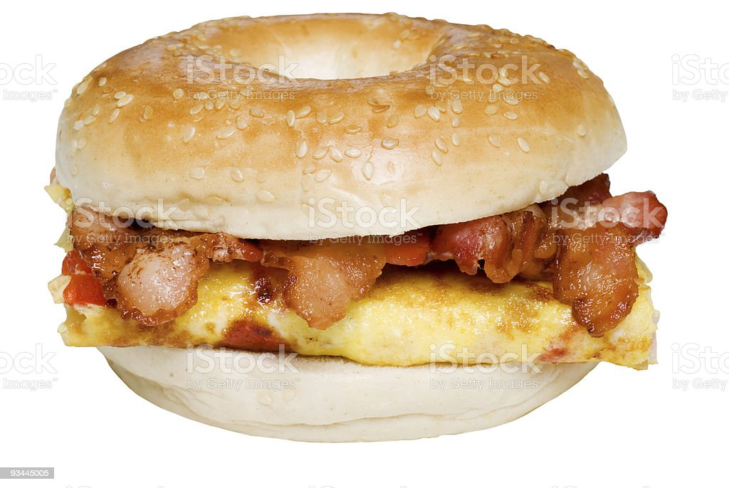 Isolated Bagel Omelet and bacon  sandwich stock photo